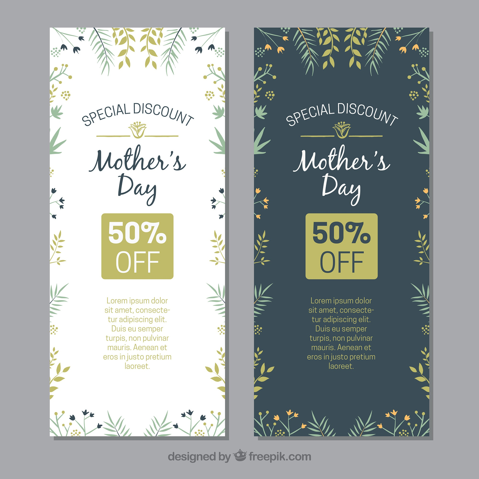 Mother's day floral banners with discounts