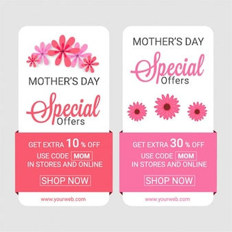 Mother's day floral banners with special offers