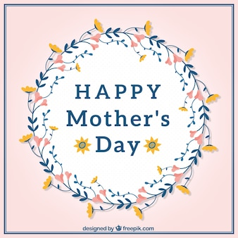 Mother's day greeting card with floral wreath