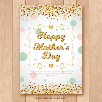 Mother's day greeting card with golden confetti