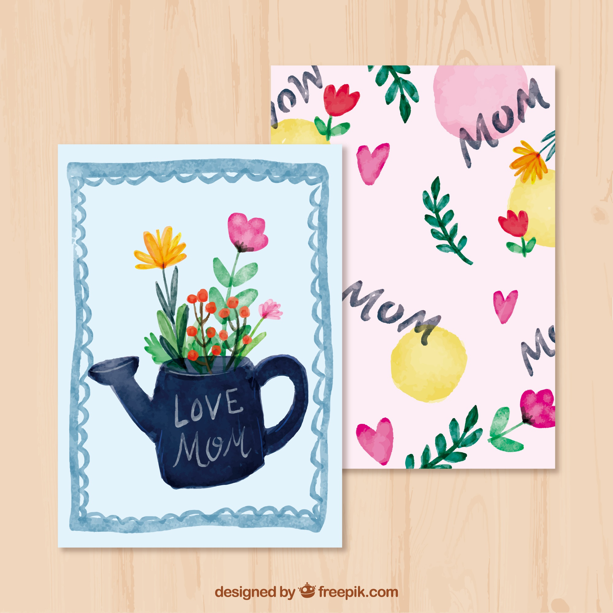 Mother's day greeting card with watering can and flowers
