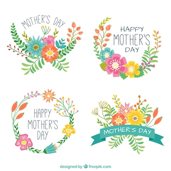 Mother's day labels with flowers