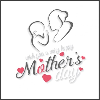 Mother's day lettering illustration with drawing