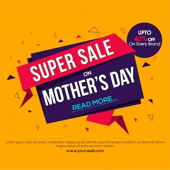 Mother's day sale banner in origami style