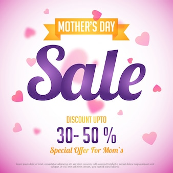 Mother's Day Sale with special discount offer, Pink hearts decorated background, Can be used as poster, banner or flyer design