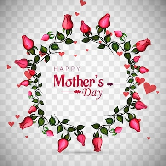 Mothers day background with floral wreath