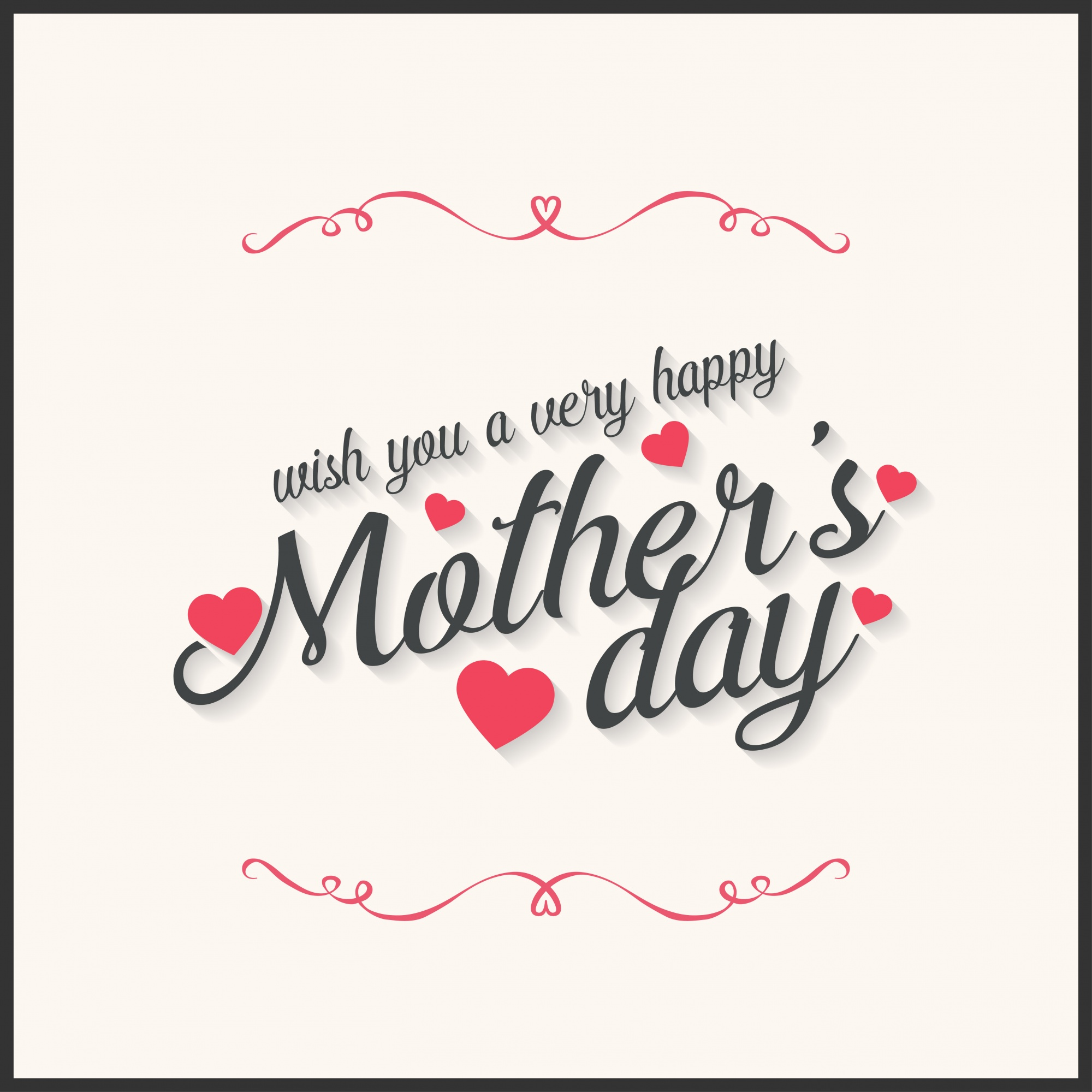 Mothers day card with ornaments and text