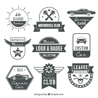 Motor retro logos and badges set