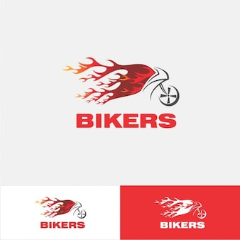 Motorbike logo with flames