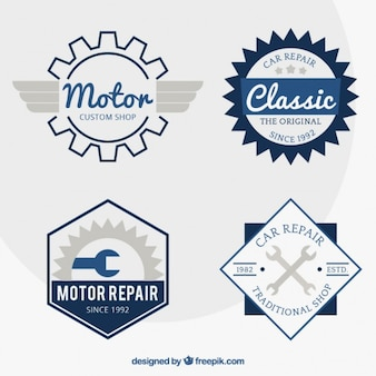 Motorcycle badges in retro style