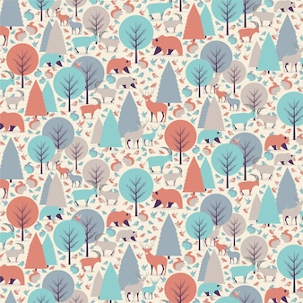 Mountain animals seamless pattern / background.