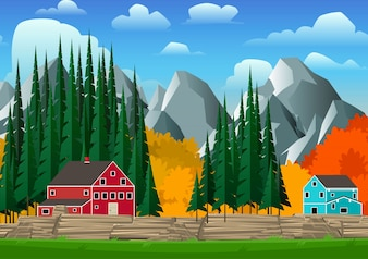 明るいカナダスタイルの家ベクトル図と山と森林景観