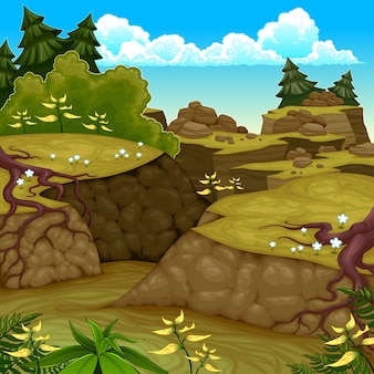 Mountain scenery cartoon style