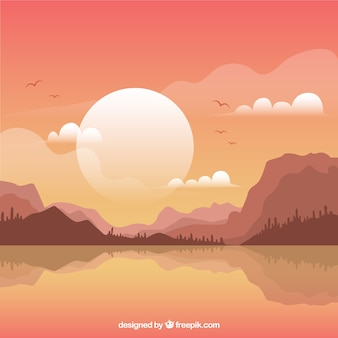 Mountainous landscape background at sunset