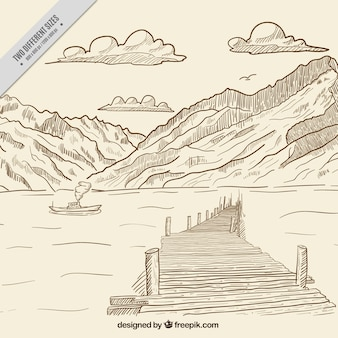 Mountainous landscape background with hand drawn sea