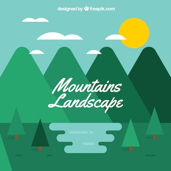 Mountainous landscape background with pines in flat design