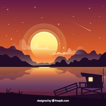 Mountainous night landscape background with lake
