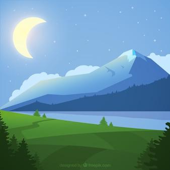 Mountainous night landscape background