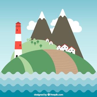 Mountainous seascape