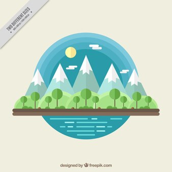 Mountains background with trees in flat design