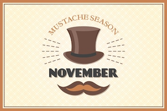 Movember background with an elegant hat