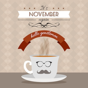 Movember background with coffe design