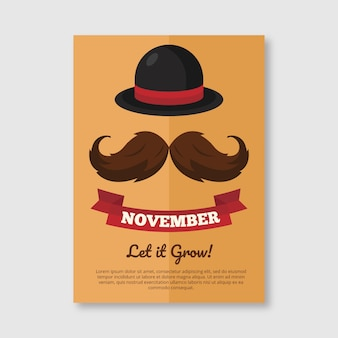 movember brochure mustache and hat in flat design
