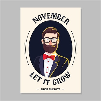 Movember brochure with modern hipster