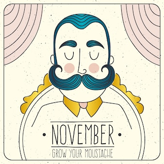 Movember card with illustrated man