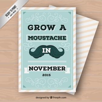 Movember Cyan Vintage Card