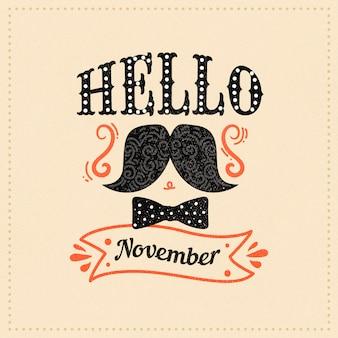 Movember design with ribbon