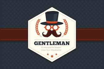 Movember geometric background with hexagonal badge