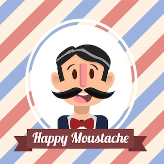 Movember striped background with a nice character