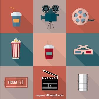Movie cinema vector icons