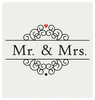 Mr and mrs wedding sign typographic design