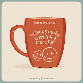 Mug background with emotive phrase of friendship day