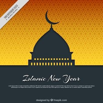 モスクとイスラム暦黄色の背景