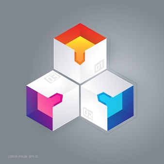 Multicolor boxes background
