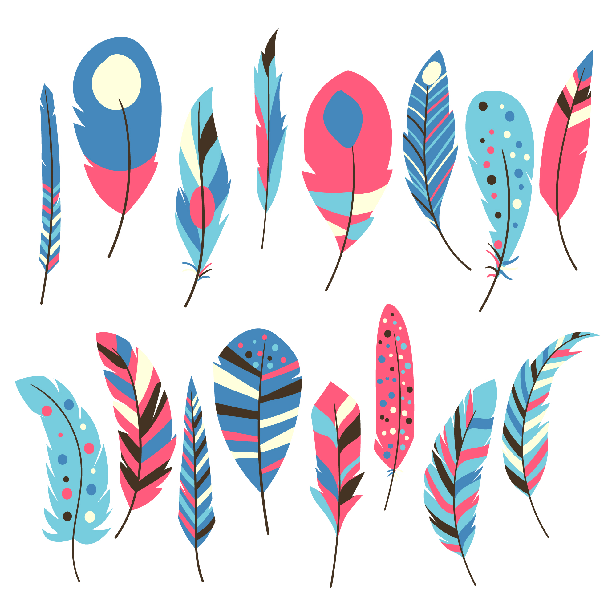 Multicolor feathers collection