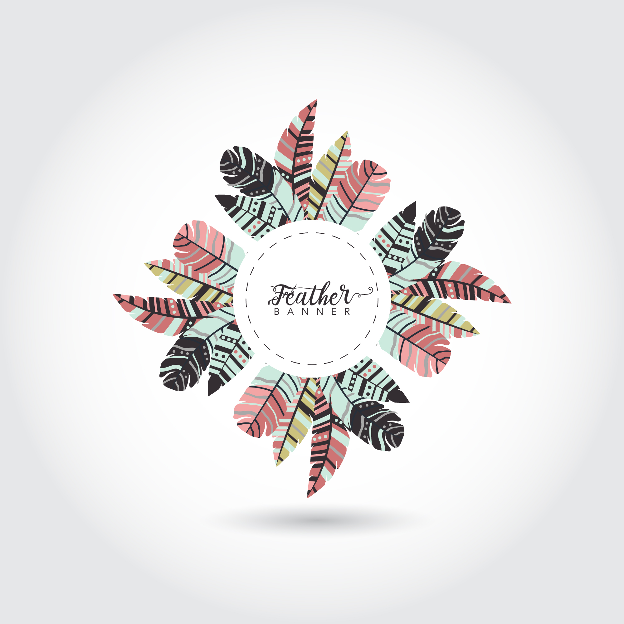 Multicolor feathers ring