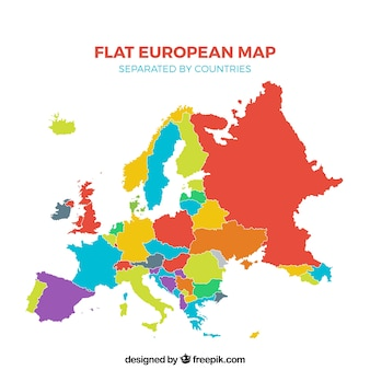 Multicolor flat european map separated by countries