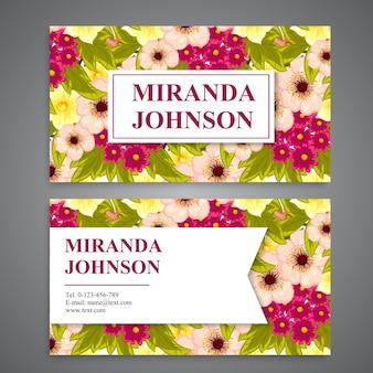 Multicolor floral business card
