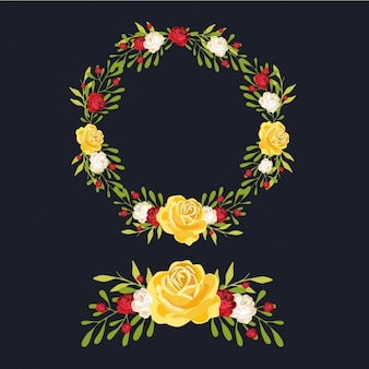 Multicolor floral wreath and ornament