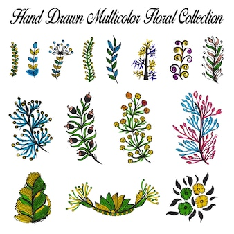 Multicolor hand drawn flowers collection