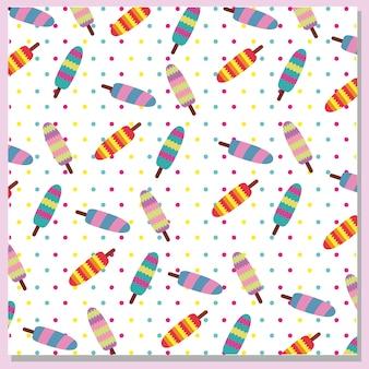 多色アイスクリームのパターンの背景