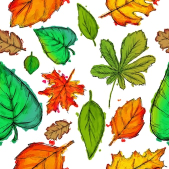 Multicolor leaves pattern background