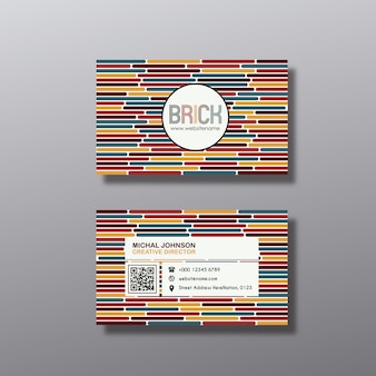 Multicolor lines business card design