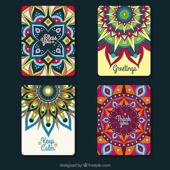 Multicolor mandala greeting card collection