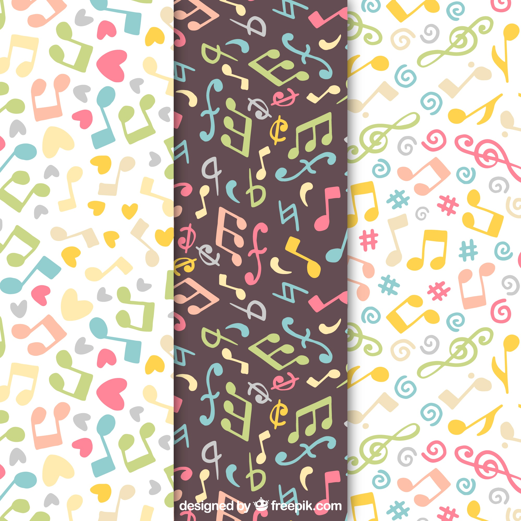 Multicolor music notes pattern background