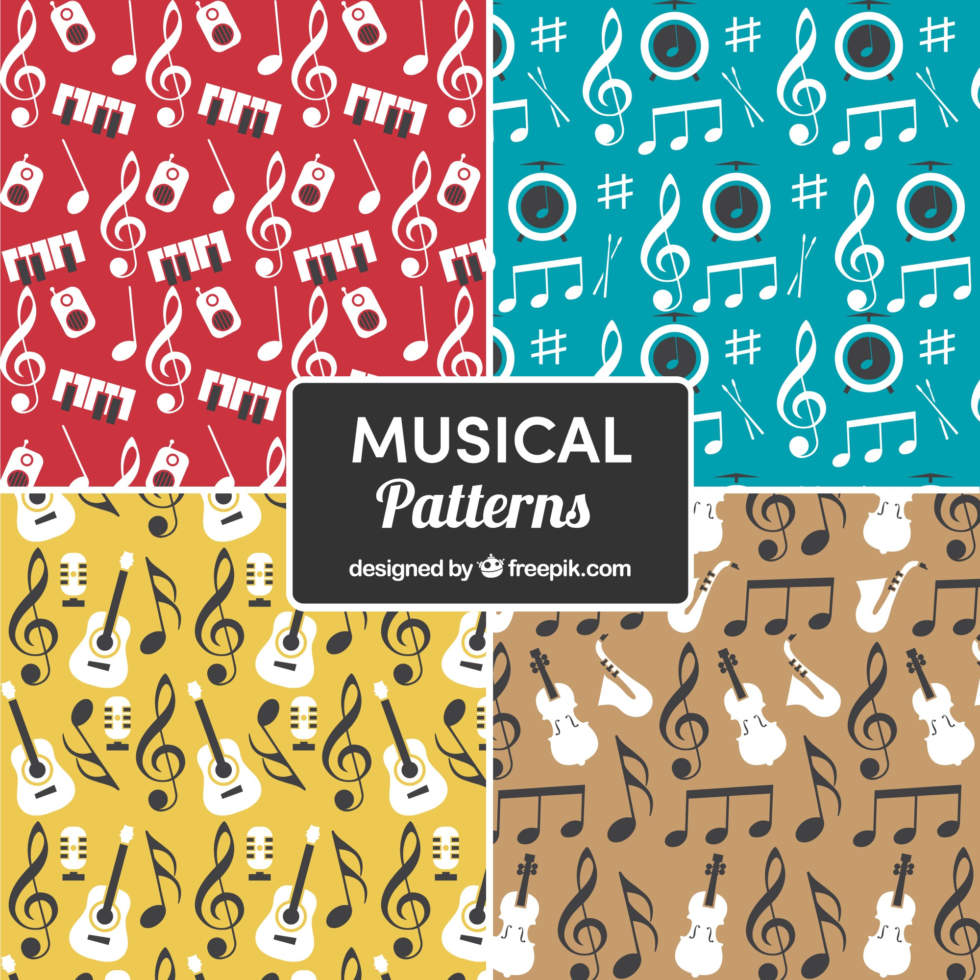 Multicolor musical pattern background